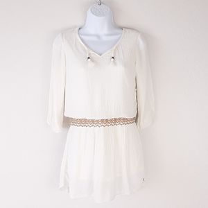 ONEILL Cream Rayon Crinkle Gauze Lined Top Size M